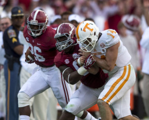 Jeoffry Pagan blocks Justin Worley for a Landon Collins pick 6 against Tennessee